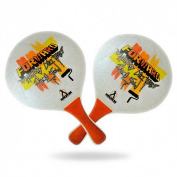 Raquettes de plage, Beach Ball bois 8 mm blanc/orange