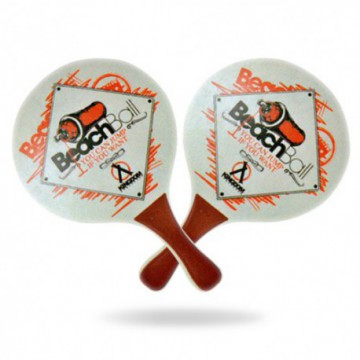 Raquettes de plage, Beach Ball bois 8 mm blanc/rouge